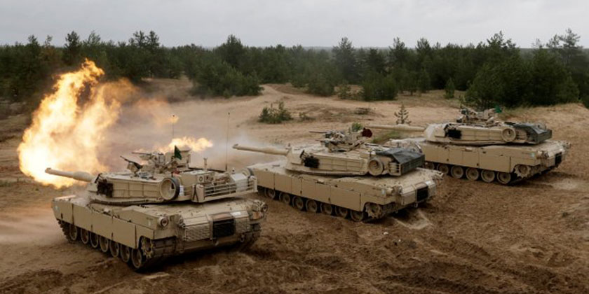 US Army Abrams tanks